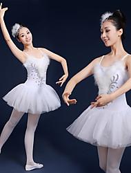 cheap -Ballet Swan Lake Layered Dress Tutu Bubble Skirt Under Skirt Women's Tulle Spandex Costume Black / White Vintage Cosplay Christmas Party Halloween Sleeveless Short Length Princess