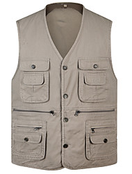 cheap -Men's Hiking Vest / Gilet Fishing Vest Outdoor Lightweight Breathable Quick Dry Wear Resistance Jacket Top Cotton Single Slider Fishing Hiking Climbing Black / Army Green / Khaki / Multi Pocket