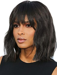 cheap -Unprocessed Human Hair Lace Front Wig Bob Deep Parting style Brazilian Hair Wavy Natural Wig 130% 150% 180% Density with Baby Hair Adjustable Heat Resistant Best Quality Thick Women's Medium Length