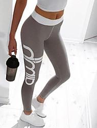 cheap -Women's Daily Sexy Sporty Legging - Solid Colored / Geometric, Print High Waist Light Green Army Green Lavender L XL XXL / Slim