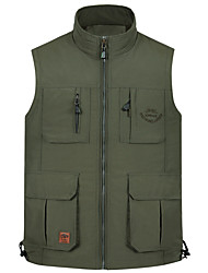 cheap -Men's Hiking Vest / Gilet Fishing Vest Outdoor Lightweight Breathable Quick Dry Wear Resistance Jacket Top Single Slider Fishing Hiking Climbing Army Green / Khaki / Multi Pocket