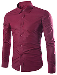 cheap -Men's Solid Colored Slim Shirt Business Basic Daily Going out Work Classic Collar Wine / White / Black / Purple / Blushing Pink / Light gray / Navy Blue / Light Blue / Fall / Long Sleeve