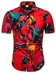 cheap -Men's Club Weekend Business / Street chic EU / US Size Linen Shirt - Floral Print Classic Collar Red / Short Sleeve