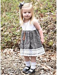 cheap -Baby Girls' Basic Color Block Sleeveless Cotton Dress White / Toddler