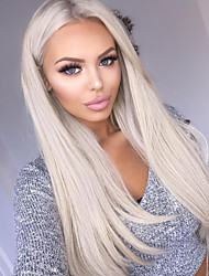 cheap -WoWEbony Fusion / I Tip Human Hair Extensions Straight Unprocessed Human Hair Human Hair Extensions Brazilian Hair Silver 1 Piece Best Quality Women's Platinum Blonde
