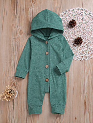 cheap -Baby Boys' Active Daily Solid Colored Retro Long Sleeve Cotton Romper Green / Toddler