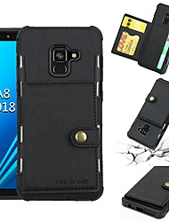 cheap -Case For Samsung Galaxy A5(2018) / A6+ (2018) / A5(2017) Card Holder / Shockproof Back Cover Solid Colored Soft PU Leather