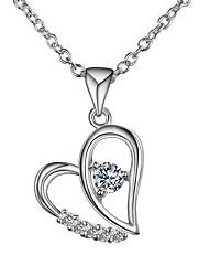 cheap -Women's Purple Diamond Cubic Zirconia tiny diamond Pendant Necklace Chain Necklace Necklace Heart Hollow Heart Simple Basic Romantic Fashion Silver Plated Silver Purple 46 cm Necklace Jewelry 1pc For