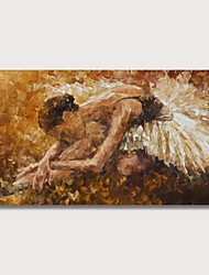 cheap -Oil Painting Hand Painted - People Modern Stretched Canvas