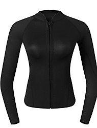 cheap -Women's Wetsuit Top 2mm CR Neoprene Top UPF50+ Long Sleeve Front Zip - Snorkeling Wakeboarding Water Sports Solid Colored Summer / High Elasticity