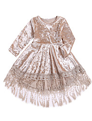 cheap -Baby Girls' Active / Boho Daily Solid Colored Tassel Long Sleeve Asymmetrical Dress Beige / Toddler