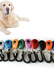cheap -2pcs Pet Cat Dog Training Clicker Plastic New Dogs Click Trainer Aid Too Adjustable Wrist Strap Sound Key Chain dog whistle