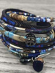 cheap -Women's Wrap Bracelet Leather Bracelet Stylish Bohemian Leather Bracelet Jewelry Coffee / Blue For Graduation Gift Daily Carnival Office & Career / Rhinestone