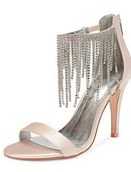 cheap -Women's Wedding Shoes High Heel Open Toe Wedding Sandals Wedding Party & Evening Satin Rhinestone Tassel Solid Colored White Black Purple