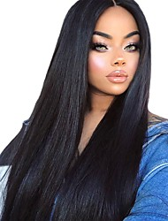 cheap -Synthetic Wig Straight Silky Straight Kardashian Layered Haircut Middle Part L Part Wig Long Black#1B Synthetic Hair 26 inch Women's Soft Heat Resistant New Arrival Black Modernfairy Hair