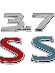 abordables -Stickers autocollants de voiture de remplacement en métal numéro 3.7 rouge bleu pour infiniti q50