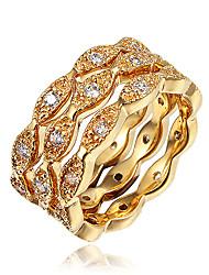 cheap -Women's Ring Ring Set Eternity Band Ring Cubic Zirconia 3pcs Gold Silver 18K Gold Plated Yellow Gold Imitation Diamond Statement Stylish Fashion Party Engagement Jewelry Classic