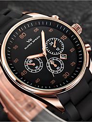 cheap -Men's Wrist Watch Quartz Rubber Black / Brown Calendar / date / day New Design Analog Fashion Word Watch - Black Coffee One Year Battery Life / SSUO SR626SW