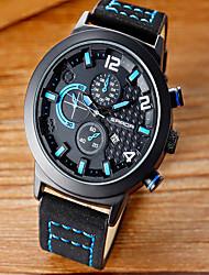 cheap -Men's Dress Watch Quartz Leather Black Water Resistant / Waterproof Large Dial Analog Classic Casual Fashion - Black / Orange Black / Red Black / Blue
