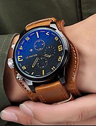 cheap -Men's Sport Watch Fashion Watch Analog Quartz Japanese Quartz Charm Water Resistant / Waterproof Calendar / date / day Cool / Genuine Leather / # / # / Two Years