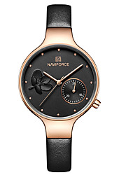 cheap -NAVIFORCE Women's Dress Watch Wrist Watch Japanese Japanese Quartz Genuine Leather Black / Blue / Grey 30 m Water Resistant / Waterproof Calendar / date / day Casual Watch Analog Casual Fashion -