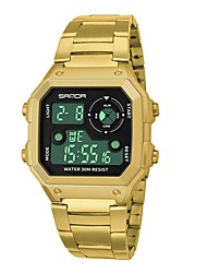 Недорогие -Муж. Спортивные часы электронные часы Кварцевый Черный / Серебристый металл / Золотистый Защита от влаги Календарь Секундомер Цифровой На каждый день Мода - / Фосфоресцирующий