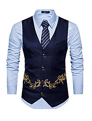 cheap -Men's Work Spring Short Vest, Solid Colored V Neck Sleeveless Polyester Embroidered Black / Navy Blue / Khaki / Business Casual