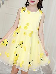 cheap -Kids Girls' Cute Daily Floral Print Sleeveless Knee-length Dress Blushing Pink