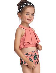 abordables -Enfants Bébé Fille Basique Le style mignon Sports Plage Fleur A Volants Imprimé Sans Manches Maillot de Bain Orange