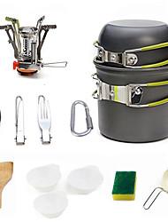 cheap -Camping Pot with Pan Cookware Sets 9pcs Lightweight Windproof Rain Waterproof Hard Alumina for 1 - 2 person Outdoor Fishing Camping Grey