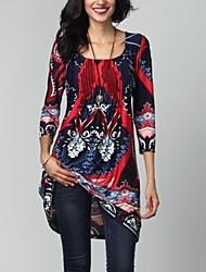 cheap -Women's Plus Size Daily Basic Sheath Dress - Geometric High Waist Brown Red XXXL XXXXL XXXXXL / Sexy
