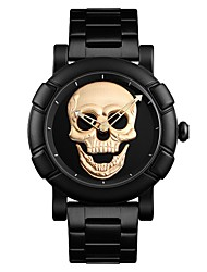 cheap -Men's Dress Watch Quartz Stainless Steel Black Water Resistant / Waterproof Skull Large Dial Analog Casual Fashion - Gold Black Silver