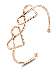 cheap -Women's Cuff Bracelet Crossover Interlocking Romantic Hyperbole Cute Elegant Alloy Bracelet Jewelry Rose Gold / Silver For Party Going out Birthday