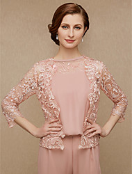 cheap -3/4 Length Sleeve Coats / Jackets Lace Wedding / Party / Evening Women's Wrap With Lace