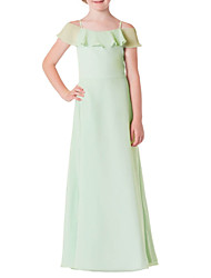cheap -A-Line Spaghetti Strap Floor Length Chiffon Junior Bridesmaid Dress with Ruffles
