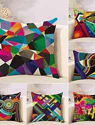 cheap -Set of 6 Cotton / Linen Pillow Case, Striped Lines / Waves Geometic Abstract Throw Pillow