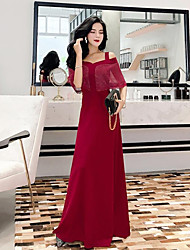 cheap -A-Line Off Shoulder Floor Length Chiffon Bridesmaid Dress with