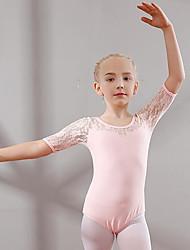 cheap -Kids' Dancewear / Ballet Leotards Girls' Training / Performance Cotton Lace Short Sleeve Natural Leotard / Onesie