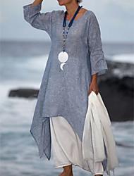 cheap -Women's Swing Dress Midi Dress - Half Sleeve Loose White Blue Purple Dark Gray Gray S M L XL XXL XXXL XXXXL XXXXXL