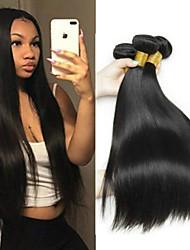 Недорогие -4 Связки Бразильские волосы Прямой Необработанные натуральные волосы 400 g Человека ткет Волосы Пучок волос Накладки из натуральных волос 8-28 дюймовый Естественный цвет Ткет человеческих волос
