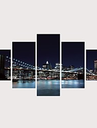 cheap -Print Rolled Canvas Prints Stretched Canvas Prints - Scenic Architecture Comtemporary Modern Five Panels Art Prints
