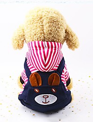 cheap -Dogs Jumpsuit Winter Dog Clothes Warm Red Blue Costume Plush Fabric Stripes Casual / Daily Stripes S M L XL