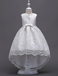 cheap -Princess Asymmetrical Flower Girl Dress - Lace / Satin / Tulle Sleeveless V Wire with Bow(s) / Crystals / Lace / First Communion
