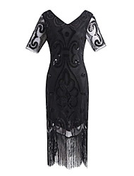 cheap -The Great Gatsby Charleston Vintage 1920s Flapper Dress Party Costume Masquerade Women's Lace Sequins Tassel Sequin Costume Black / Black+Golden / Black+Sliver Vintage Cosplay Party Homecoming Prom