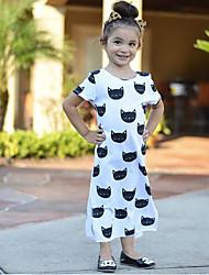 cheap -Kids Toddler Girls' Active Basic Animal Cartoon Split Print Short Sleeve Midi Dress White / Cotton
