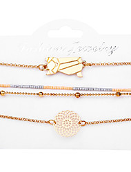 cheap -Women's Bead Bracelet Pendant Bracelet Layered Cat Simple European Casual / Sporty Alloy Bracelet Jewelry Gold For Street Going out Work