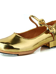 cheap -Girls' Dance Shoes Patent Leather Tap Shoes Heel Thick Heel Customizable Black / White / Gold / Performance / Practice