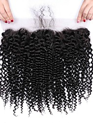 cheap -1 Bundle Brazilian Hair Kinky Curly Virgin Human Hair Wig Accessories Hair Weft with Closure 8-20 inch Natural Color Human Hair Weaves Creative Stress and Anxiety Relief New Arrival Human Hair