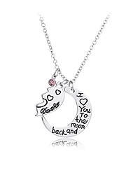 cheap -Women's Pendant Necklace Monogram Moon Heart Letter Sweet Fashion Modern Zircon Chrome Silver 45+5 cm Necklace Jewelry 2pcs For Gift Daily Holiday