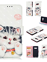 cheap -Case For Samsung Galaxy S9 / S9 Plus / Galaxy S10 Wallet / Card Holder / with Stand Full Body Cases Cat / 3D Cartoon Hard PU Leather